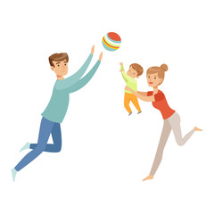 Mom, dad and their little son playing ball together, happy family and parenting concept vector Illustration on a white background
