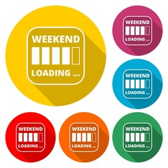 Weekend loading sign icon, color icon with long shadow
