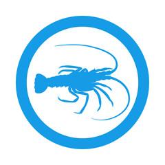 Icono plano silueta langosta en circulo azul