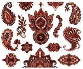 Paisley set. Oriental decorative design elements. Henna mehndi tattoo ornament. Isolated objects on white background. Vector illustration