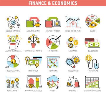 Banking money financial services set credit sign development finance accumulation bank investment management vector illustration.