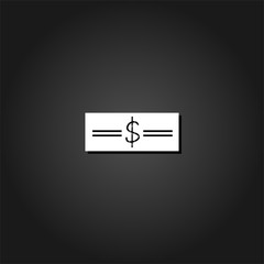 Money icon flat. Simple White pictogram on black background with shadow. Vector illustration symbol