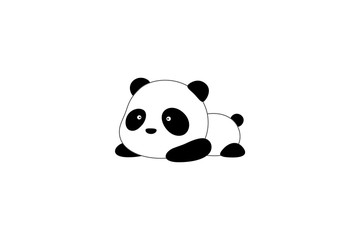 Vector Illustration / Logo Design - Cute funny cartoon giant panda bear lies on its stomach on the ground