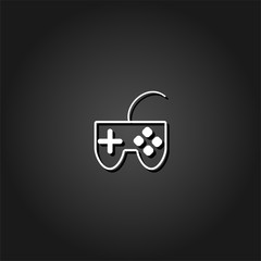 Joystick icon flat. Simple White pictogram on black background with shadow. Vector illustration symbol