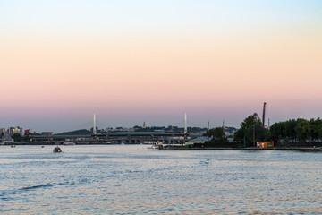 Golden Horn Metro Bridge in Istanbul in evening