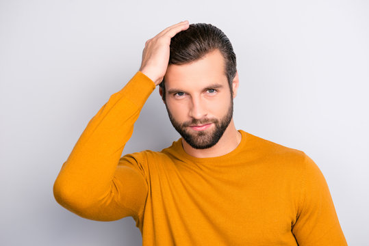 People healthy hair person leader success concept. Close up portrait of attractive virile masculine handsome stylish trendy macho brutal guy combing long furfur isolated on gray background