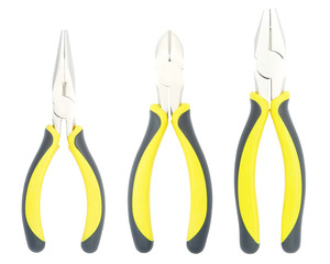 Pliers with yellow and black handle Isolated on White Background