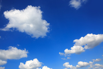 Blue sky with big clouds.