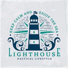Lighthouse emblem. Vector illustration.