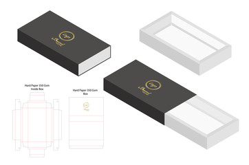 hard paper slide box 3d mockup with dieline