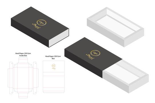 hard paper slide box 3d mockup with dieline
