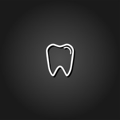 Tooth icon flat. Simple White pictogram on black background with shadow. Vector illustration symbol
