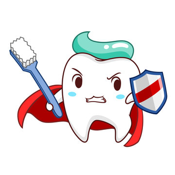 Cartoon illustration of Superhero healthy tooth holding shield and toothbrush.