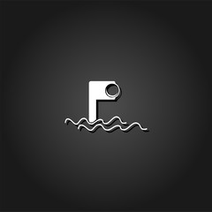 Periscope icon flat. Simple White pictogram on black background with shadow. Vector illustration symbol