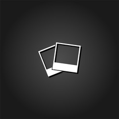 Photos icon flat. Simple White pictogram on black background with shadow. Vector illustration symbol