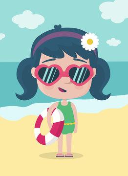 NIña de vacaciones en la playa
