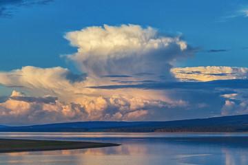 a big cloud over the river
