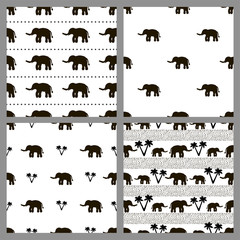Set of the seamless patterns with elephants.