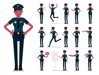 Policewoman character vector design. Female african police officer. Vector cartoon flat design illustration isolated on white background.