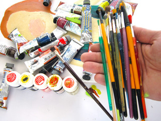 various oil painting supplies.hobby,art,painters,picture,