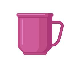 Mug isolated on white background. Flat design. Vector illustration.