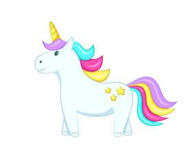 Cute unicorn. Isolated on white background. Vector illustration.