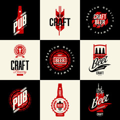 Modern isolated craft beer drink vector logo sign for bar, pub, brewery or brewhouse.