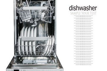 clean glasses, glasses and plates, different dishes in the dishwasher isolated on a white background. Text delete