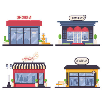Set with flat woman fashion store front like jewelry, atelier, dress boutique and bags and shoes shop isolated on white