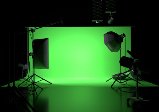 A green screen photography studio background with lighting. 3D illustration
