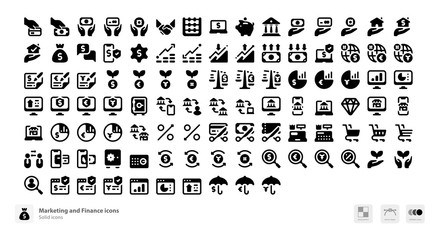 Marketing and finance icons