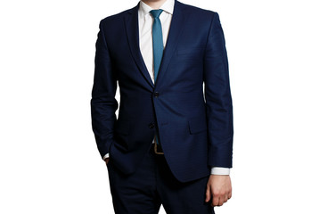 businessman in blue business suit on a white background