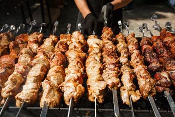 Grilled barbecue meet on skewer