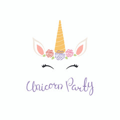 Hand drawn vector illustration of a cute funny unicorn face cake decoration with roses, lettering quote Unicorn party. Isolated objects on white background. Flat style design. Concept children print.