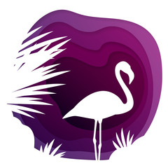 Paper carve cut art with flamingo and tropical leaf. Purple origami design. Wave shapes abstract 3D background. Travel concept 3d paper layers for card, banner, business presentation, party flyer