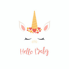 Hand drawn vector illustration of a cute funny unicorn face cake decoration with hearts, stars, lettering quote Hello baby. Isolated on white background. Flat style design. Concept for children print.