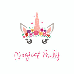 Hand drawn vector illustration of a cute funny unicorn face cake decoration with flowers, lettering quote Magical party. Isolated on white background. Flat style design. Concept for children print.