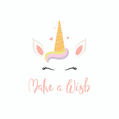 Hand drawn vector illustration of a cute funny unicorn face cake decoration with lettering quote Make a wish. Isolated objects on white background. Flat style design. Concept for children print.