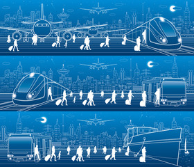 Transport panorama set. People get on  train leaving airplane. Passengers go at bus exit train. Humans go to ship from bus Travel transportation scene. Night city on background. Vector design art