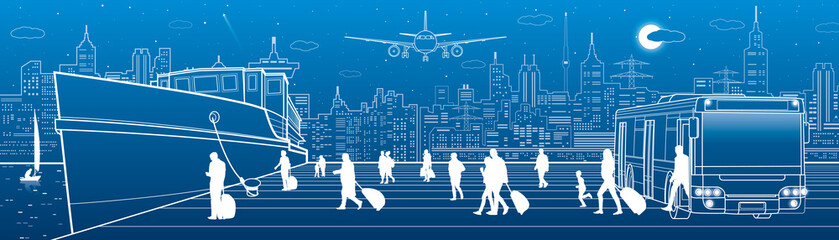 Transport panorama. Passengers go to ship from bus. People walking. Travel transportation. Urban scene. Night city at background. Vector design art