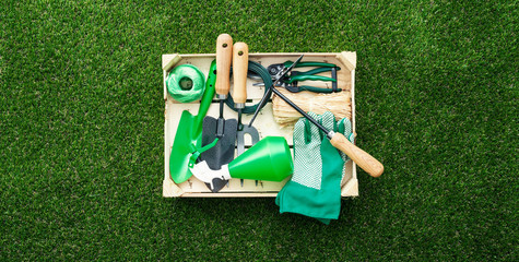 Crate with gardening tools