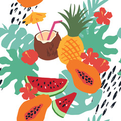 Minimal summer trendy vector tile seamless pattern in scandinavian style. Exotic fruit slice, flowers, palm leaf and dots. Textile fabric swimwear graphic design for print isolated on white.