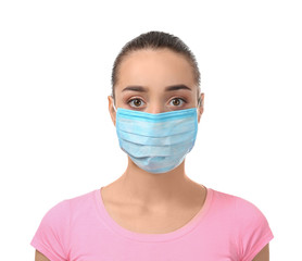 Young woman in protective mask on white background. Allergy concept