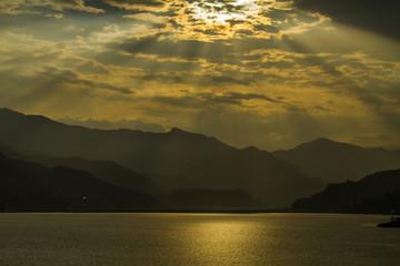 incredible sunset in Pokhara, Nepal