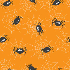 Seamless pattern with cute spiders and spider webs. Halloween theme, vector illustration.
