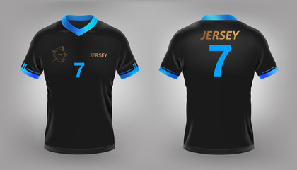 Soccer jersey black sport t-shirt design. Vector realistic eps file.