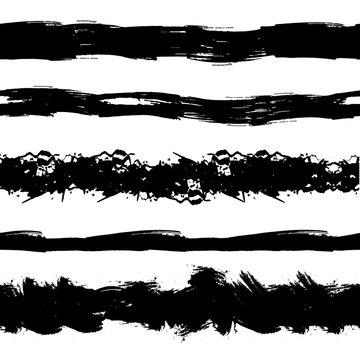 Vector Set of Grunge Seamless Stipes, Brush Strokes, Black Ink Splatters.