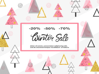 Winter sale poster design. Vector trendy shopping background.