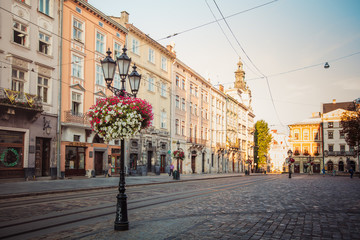 lantern on Market square in Lviv, Ukraine