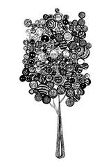 ornamental  tree buttons illustration jpg